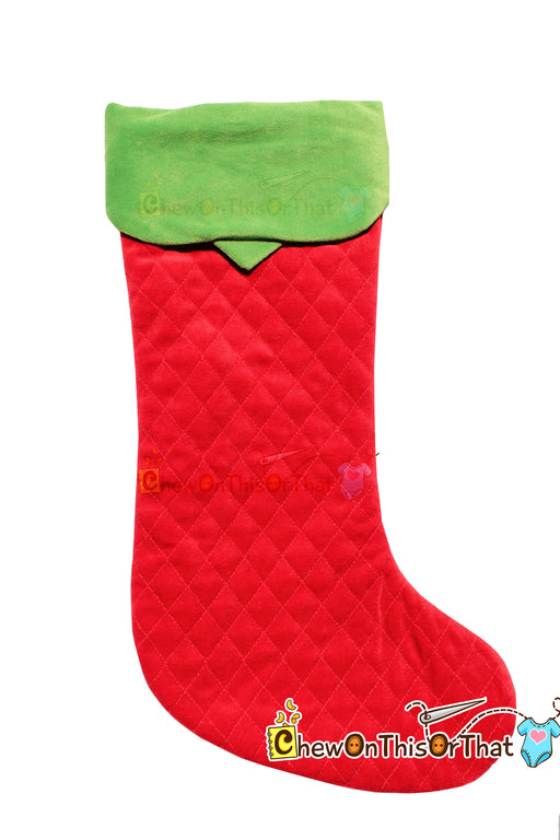 Quilted Extra Long Red and Green Old Fashioned Personalized Christmas Stocking - Chew On This Or That