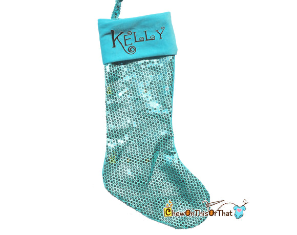 Bright Blue Sequin Personalized Christmas Stocking, Christmas Eve, Night Before Christmas Family Tradition, True Blue Christmas Decorations - Chew On This Or That