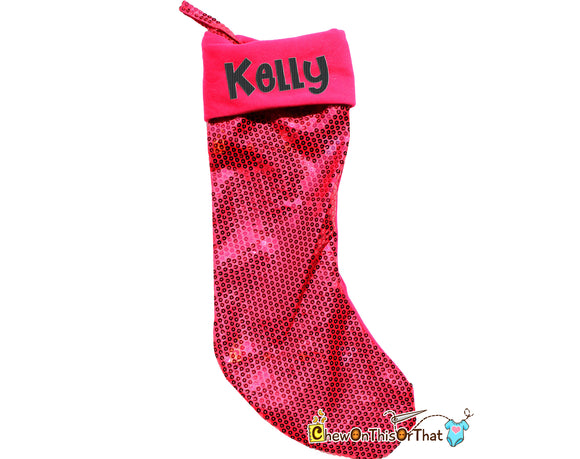 Bright Pink Sequin Personalized Christmas Stocking, Christmas Eve, Night Before Christmas Family Tradition, Hot Pink Christmas Decorations - Chew On This Or That