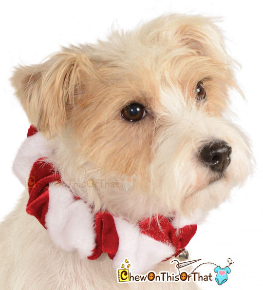 Dog Red Christmas Scrunchy Collars with Bells for Small Dogs, Cats, Kittens, Puppies & Animal, Candy Cane Holiday Accessory, Dress Up Party - Chew On This Or That
