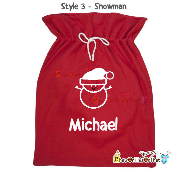 Personalized Extra Large Red Santa Gift Sack, Red Velvet Santa Gift Bag, Gifts from Santa, Grandkids Bag, Family Gift Sack, Personalized Bag - Chew On This Or That