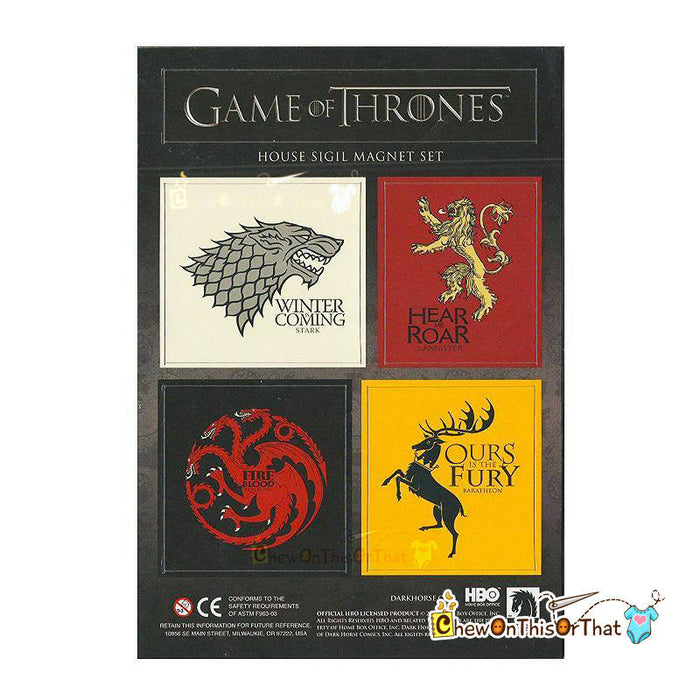 Game of Thrones House Sigil Magnet Set - Starks Winter is Coming, Lanister Hear Me Roar, Targayen Fire Blood, Bartheon, HBO Dark Horse - Chew On This Or That