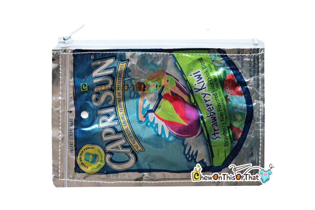 Recycled Capri Sun Juice Pouch Pencil Case & Change Purse, Wallet, Coin Pouch, Makeup Bag, Brush Holder, Upcycle Novelty Geeky Gag Gift Card - Chew On This Or That