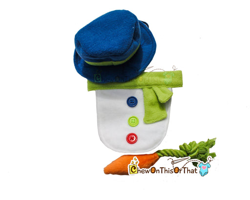 Snowman Photo Prop with Blue Top Hat & Carrot Chew Toy - Chew On This Or That