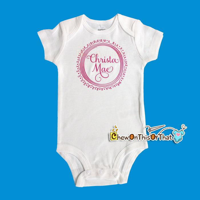 Baby Name Squiggle & Swirl for Just Born Milestone Bodysuit Set - Chew On This Or That