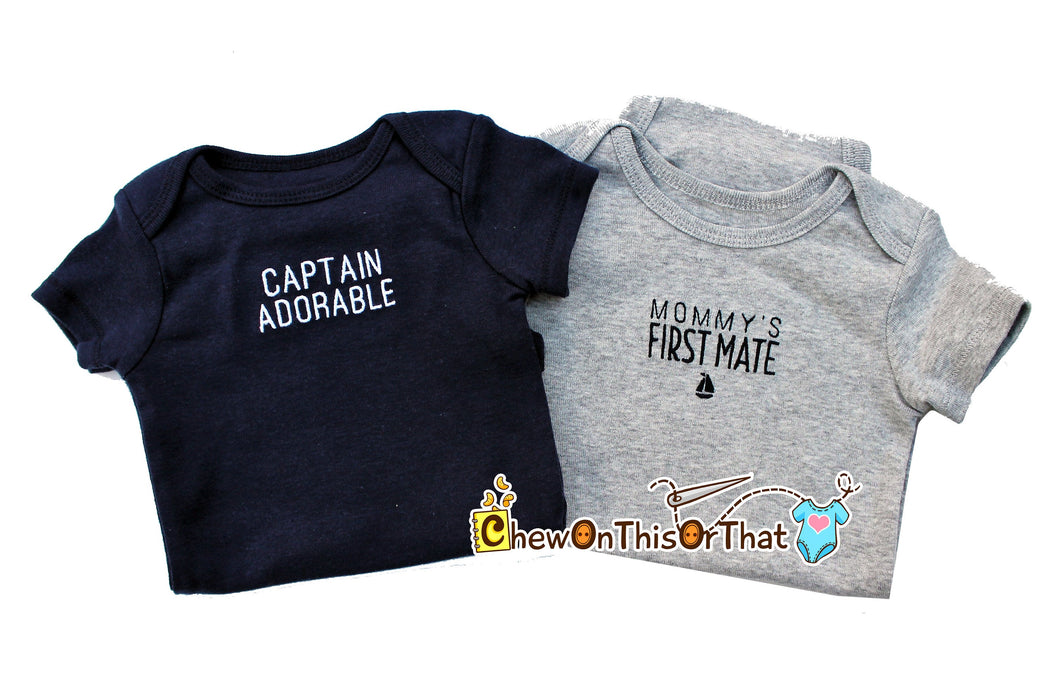 Mommy's First Mate Personalized Embroidered Gray Statement Bodysuit - Add Baby's Name to Shirt, Top, Photo Prop, Nautical - Chew On This Or That