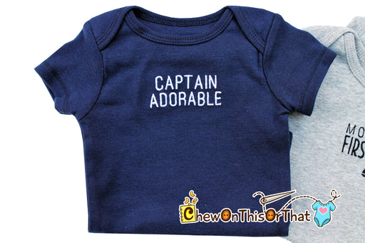 Captain Adorable Personalized Embroidered Navy Blue Statement Bodysuit - Chew On This Or That