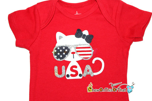 USA Red Short Sleeve Baby First Shirt - Chew On This Or That