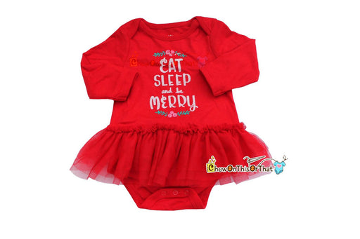 Eat Sleep and Be Merry Red Ruffled Tutu Bodysuit Dress for Baby Girls First Christmas - Chew On This Or That