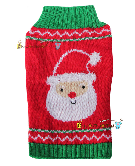 Red and Green Santa Knit Dog Sweater Personalized - Chew On This Or That