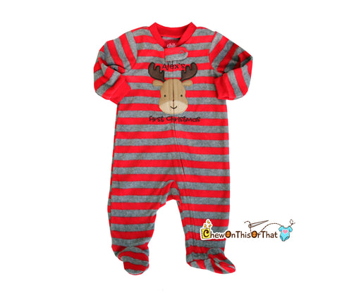 Striped Red and Gray Reindeer Blanket Fleece First Christmas Pajamas - Chew On This Or That