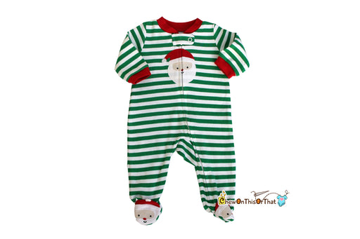 Green Striped and White Santa Clause Footed Santa Christmas Pajamas - Chew On This Or That