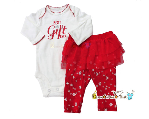 Best Gift Ever White Bodysuit with Red Snowflake Leggings with Red Tutu Skirt - Chew On This Or That