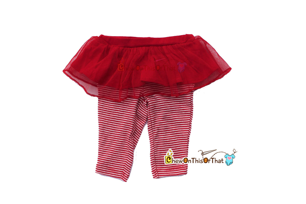 Sparkle All the Way White Bodysuit with Red Striped Leggings with Tutu - Chew On This Or That