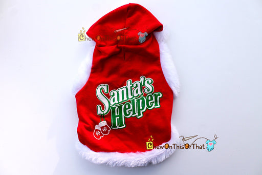 Santa's Helper Red Christmas Dog Hoodie - Chew On This Or That