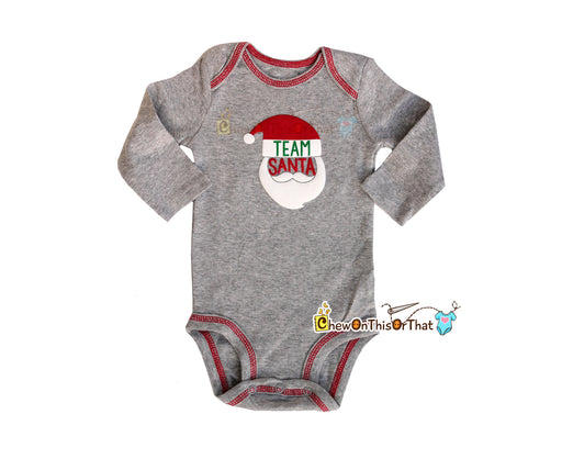 Team Santa Gray Long Sleeve Statement Bodysuit - Chew On This Or That
