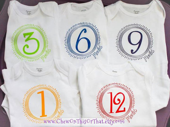 Baby Birthday and Birth Month Onesies Small Set, Monthly Aniversary Photo Prop Memory Book Album Bodysuits First Year Top Shirt Milestone - Chew On This Or That