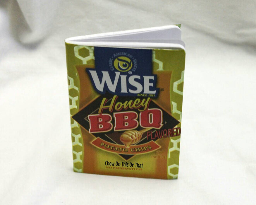 Wise Honey Barbecue Potato Chips Upcycle Notebook Eco Friendly Small Journal, Bullet To Do List, Notepad for Happy Life Planner - Chew On This Or That