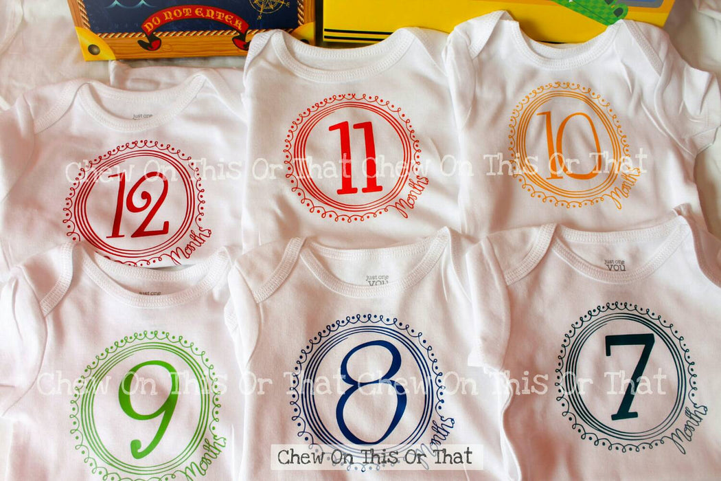 Boys 12 Months Complete Birth Onesies Gift Set, Primary Color Baby Milestone, Monthly Onesie Set, Birthday Anniversary, Photo Props Shower - Chew On This Or That