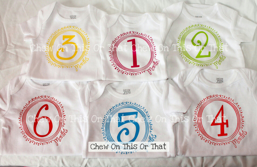 Girls 12 Months Baby Birth Month Milestone Bodysuit Set, Month Anniversary, Bright Color Baby Photo Props New Mom Gifts Baby Shower Gift - Chew On This Or That