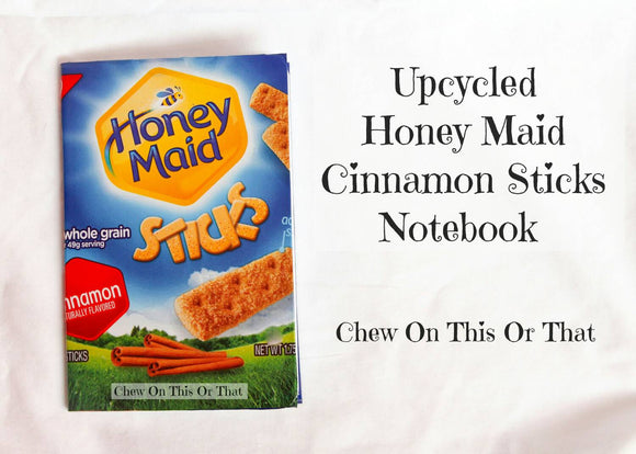 Upcycled Honey Maid Whole Grain Cinnamon Notebook- Mini Journal Assignment Pad Notepad Bullet To Do List Paper Life Planner ECLP - Chew On This Or That