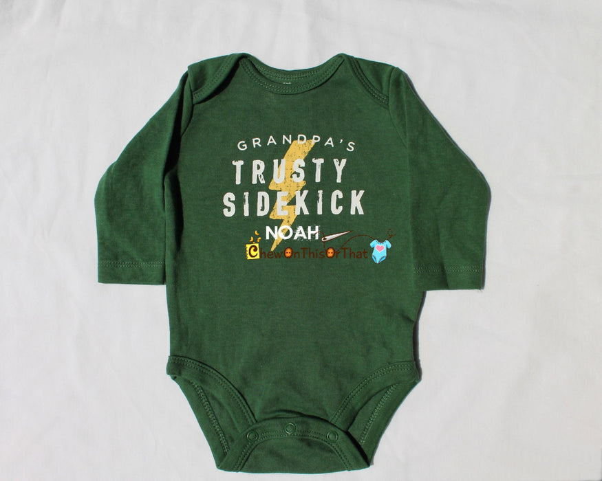 Personalized Grandpa's Trusty Sidekick Long Sleeve Green Onesie, Statement Shirt for Grandparents Day, Baby Boys Lighting Bolt Bodysuit - Chew On This Or That