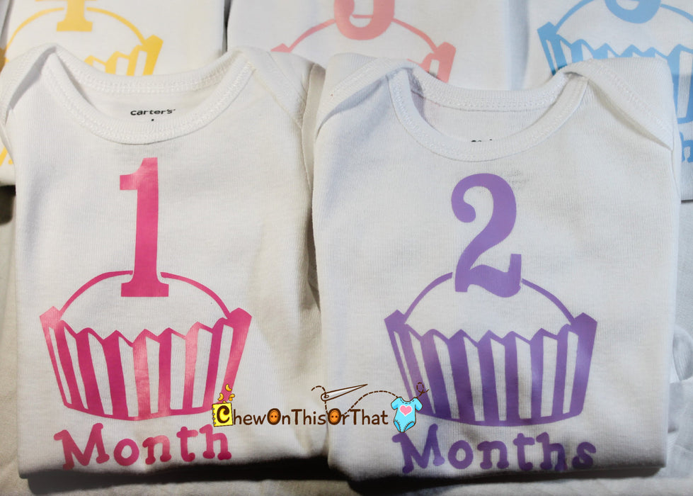 Girls Cupcake 12 Month Milestone Onesies Gift Set - Monthly Anniversary Bodysuit, Birth Month Celebration, Baby Photo Props, Baby Shower - Chew On This Or That