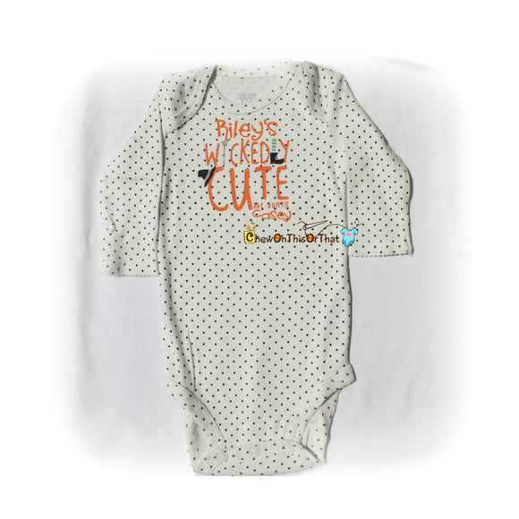 Wickedly Cute Like My Auntie Baby's First Halloween Statement Onesie Costume - Auntie and Niece Personalized Baby Name Bodysuit, Top, Outfit - Chew On This Or That