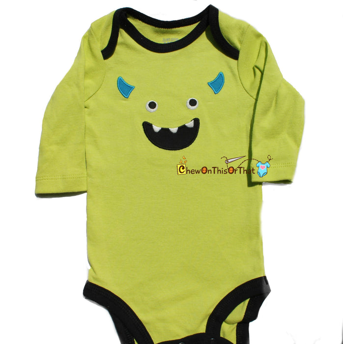 Mike Inspired Monster Costume from Monster Inc.- Green Onesie and Pant Set, Baby First Halloween Bodysuit, Top, Outfit - Chew On This Or That