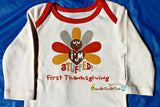 I'm Stuffed - Baby Name First Thanksgiving Onesie, Personalized Bodysuit, Top, Outfit, Shirt - Chew On This Or That