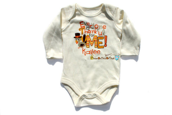 Personalized Baby's First Thanksgiving Statement Shirt - Everyone's Thankful For Me Onesie, Bodysuit, Top, Shirt