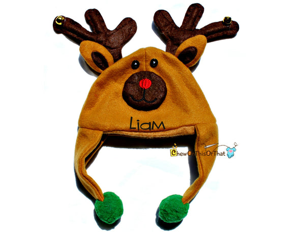 Rudolf Red Nose Reindeer Christmas Hat Personalized with Name for Infants & Babies, Winter Ear Flaps Character Hat with Baby Cap, Photo Prop - Chew On This Or That
