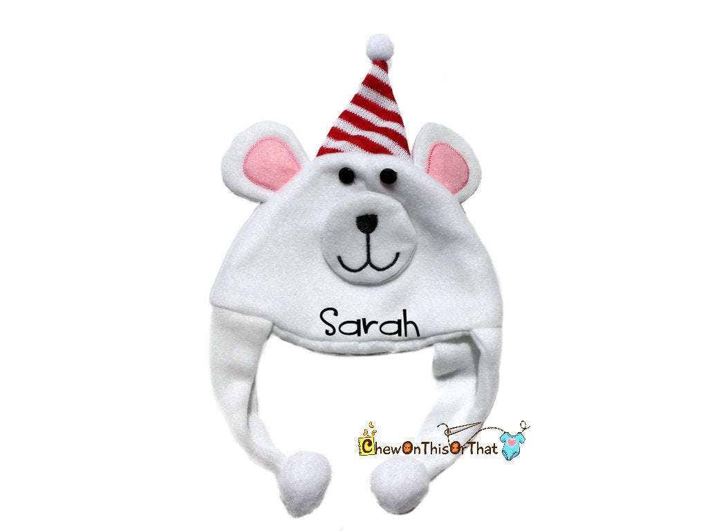 Personalized White Polar Bear Photo Prop Hat for Babies, Santa Hat, Elf Hat, Character Hat, Monogram Character Hats, Embroidered, add Name - Chew On This Or That