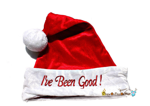 I've Been Good Personalized Red Christmas Santa Hat or Elf Hat for Children, Teens and Adults - Elf Hat, Santa Hat - Chew On This Or That