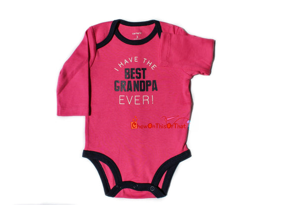 Best Grandpa Ever Personalized Pink and Blue Long Sleeve Statement Onesie, Bodysuits, Top, Shirt for Newborns, Babies and Baby Girl Doll - Chew On This Or That