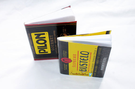 Pilon Cafe Molido Espresso Coffee- Small Upcycled Notebook, Mini Journal, Planner Notepad, Bullet To Do List - Chew On This Or That