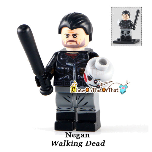 Walking Dead Negan Custom Lego Minifigure - AMC Zombie - Chew On This Or That