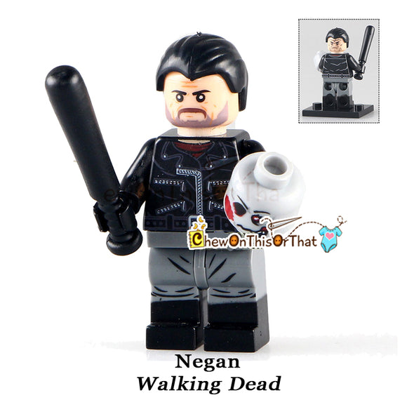 Walking Dead Negan Custom Lego Minifigure - AMC Zombie Horror Television Series Bricks - Chew On This Or That