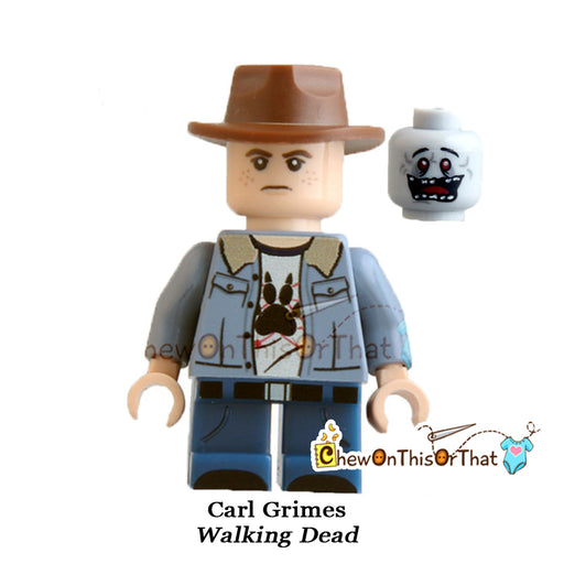Walking Dead Young Carl Grimes Custom Lego Minifigure - Chew On This Or That