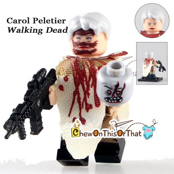 Walking Dead Custom Lego Mini figure Carol Peletier with back view
