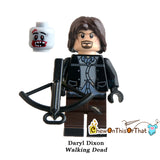 Walking Dead Daryl Custom Lego Minifigure Toy - AMC Zombie Horror Television Series Bricks - Chew On This Or That