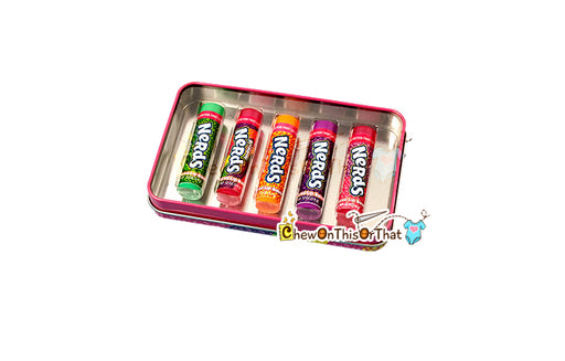 Rainbow Nerds Candy Flavored Lip Balm Gift Set with Rainbow, Strawberry, Blue Raspberry and Grape, Nerds Necklace and Stickers by Lotta Luv - Chew On This Or That