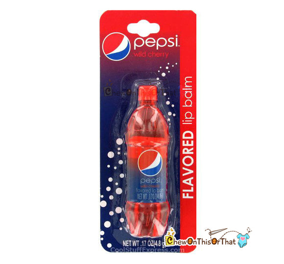 Wild Cherry Pepsi flavored lip balm in a miniature Pepsi bottle