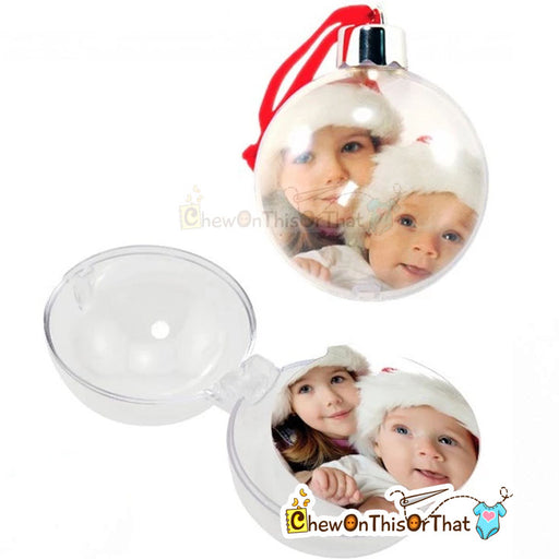 Photo Ball Ornament - Holds 2 Photos - Chew On This Or That