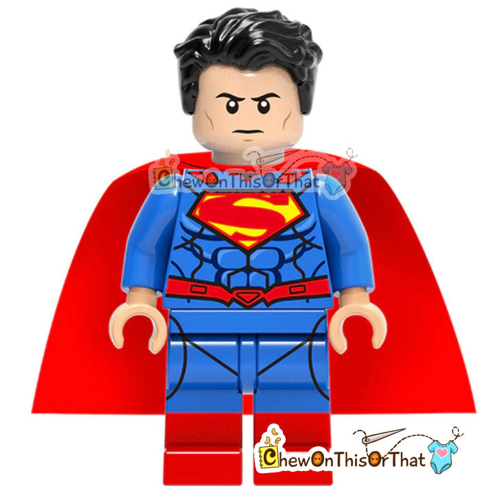 Superman - Clark Kent Lego Minifigure Custom Collectible Toy - Chew On This Or That