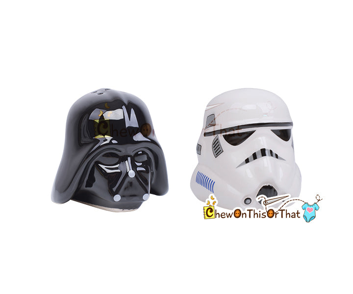 Star Wars Darth Vader and Stormtrooper Ceramic Salt and Pepper Shakers - Chew On This Or That