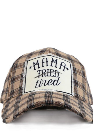 Mama Tired Plaid Hat