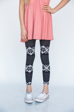 Kids Fair Isle Black Leggings - S/M