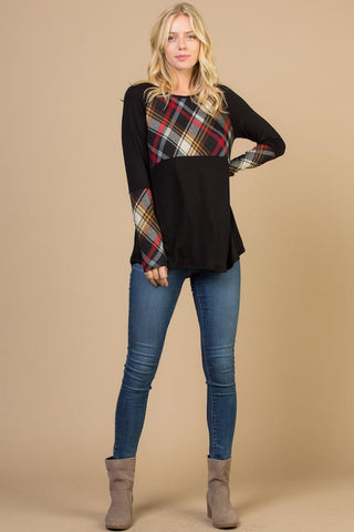 Contrast Plaid Long Sleeves Top