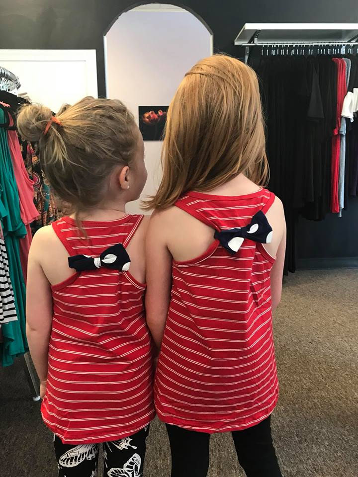 Girls Red, White& Blue Bow Tank